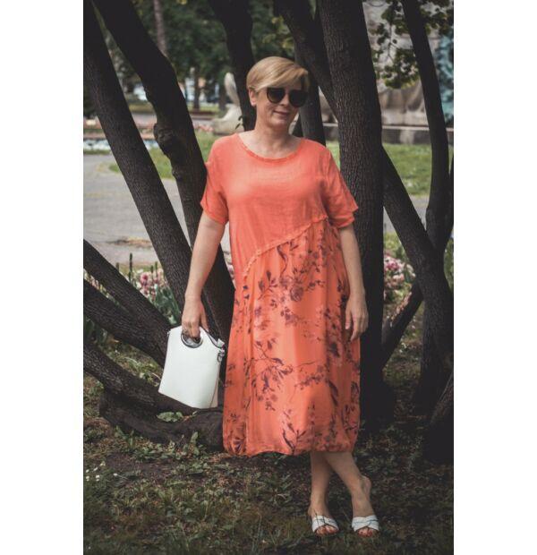 Stella korallszínű lenvászon ruha, virágmintás alsó részel