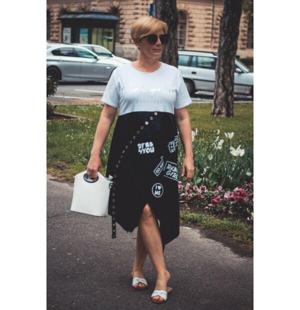 Zahara fekete-fehér feliratos pamut-vászon ruha