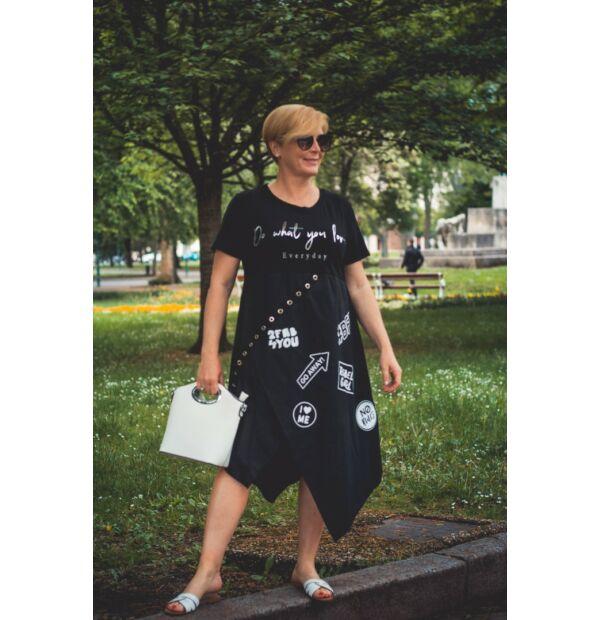 Zahara fekete feliratos pamut-vászon ruha