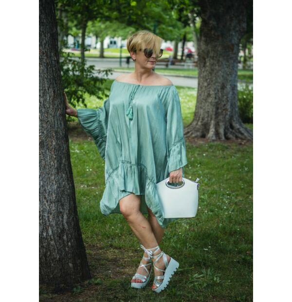 Amanda zőldszínű, ujján, alján fodros, A vonalú tunika-ruha