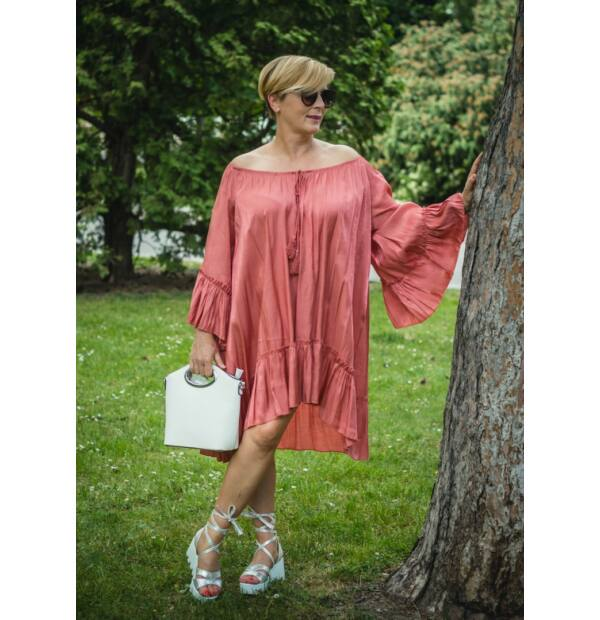 Amanda lazacszínű, ujján, alján fodros, A vonalú tunika-ruha