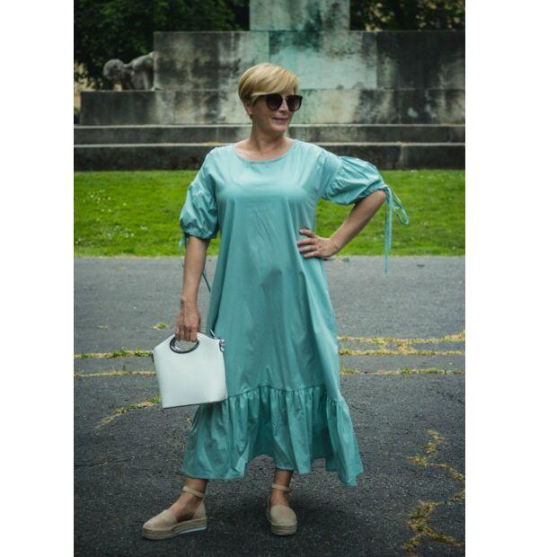 Amadé mentazöldszínű pamutvászon maxi ruha