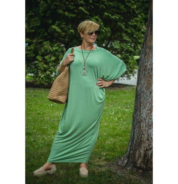 Zoé menta zöld színű laza stílusú pamut ruha