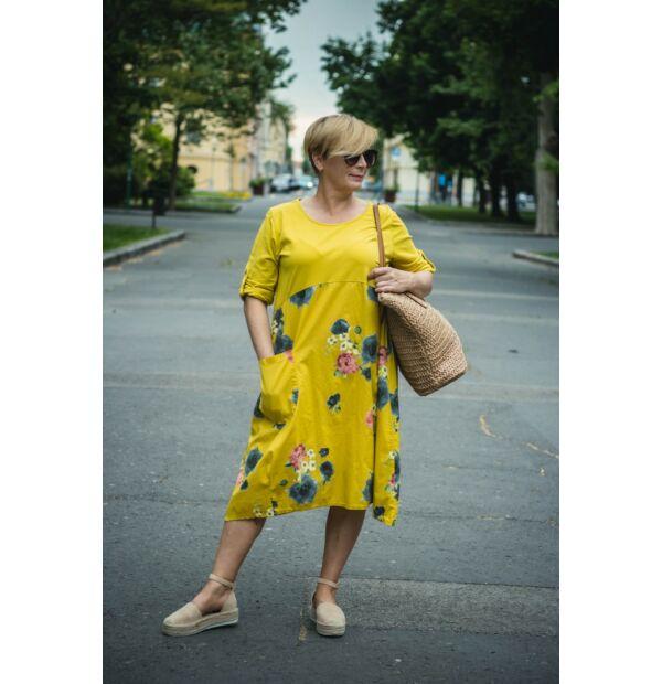 Paola laza stílusú mustárszínű pamut virágos ruha