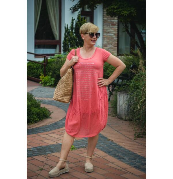 Lazacszínű pamut buborék fazonú ruha
