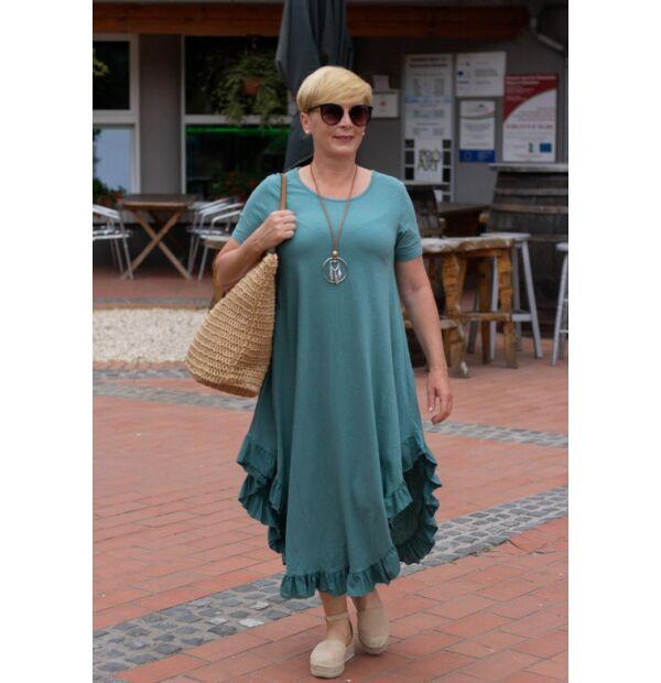 Milla zöldszínű pamut, alján fodros maxi-ruha