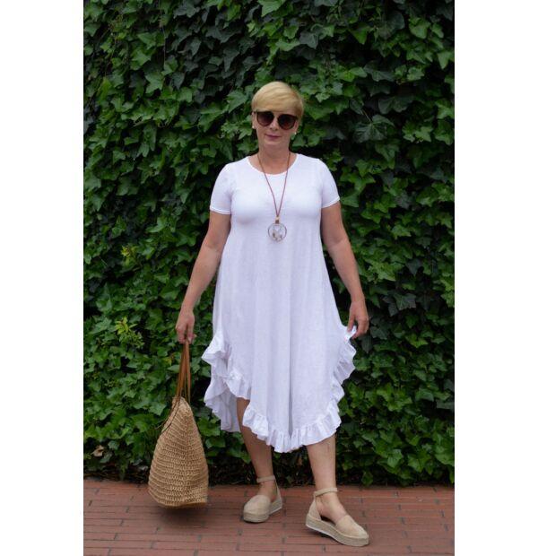 Milla fehérszínű pamut, alján fodros maxi-ruha