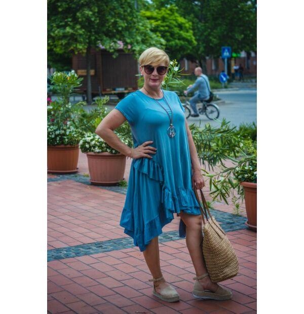 Zsanett kék fodros pamut tunika-ruha