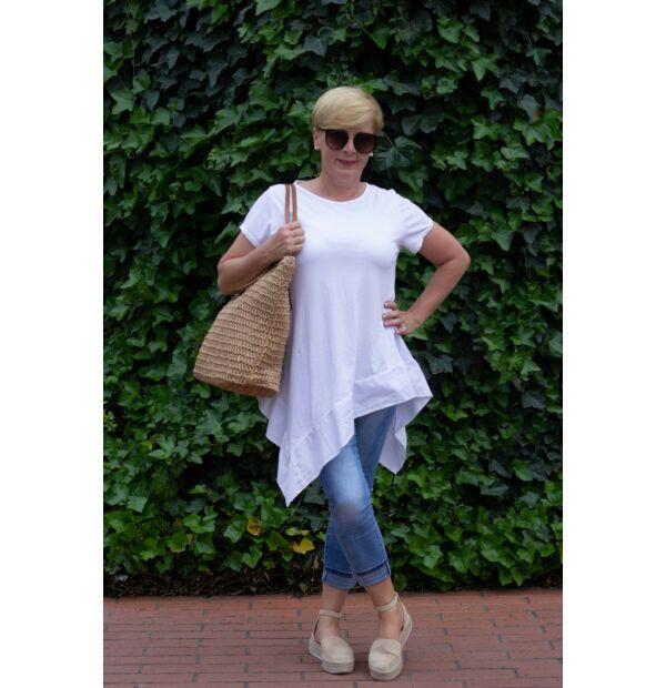 Eliza fehér pamut A vonalú, alján fodros póló