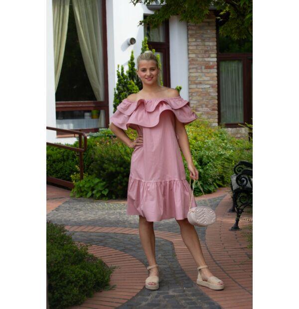 Molly púderszínű, vállrésznél fodros pamut-vászon ruha