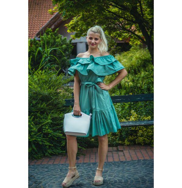 Molly menta zöld, vállrésznél fodros pamut-vászon ruha