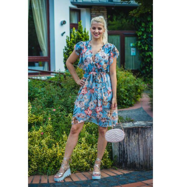 Mimi világoskék alapon virágmintás muszlin ruha