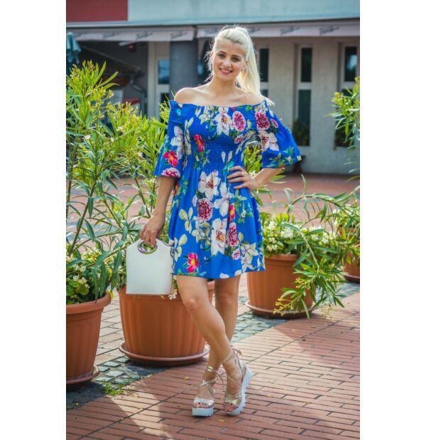 Tamara királykék alapon, egzotikus virágmintás muszlin ruha