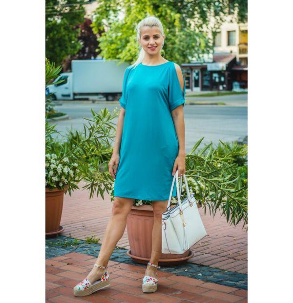 Lady zöldszínű puha pamut zsebes tunika