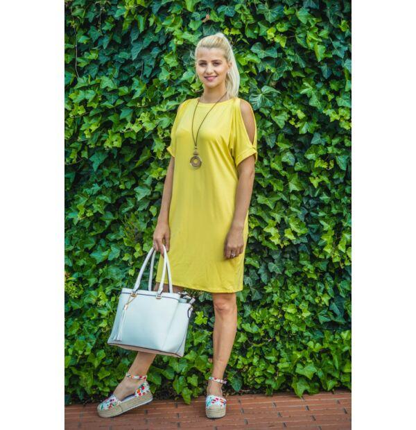 Lady sárga puha pamut zsebes tunika