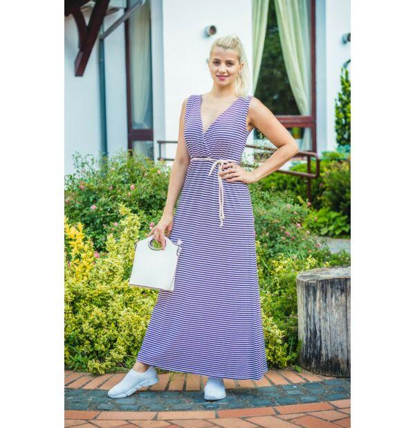 Kék-fehér csíkos puha pamut maxi ruha