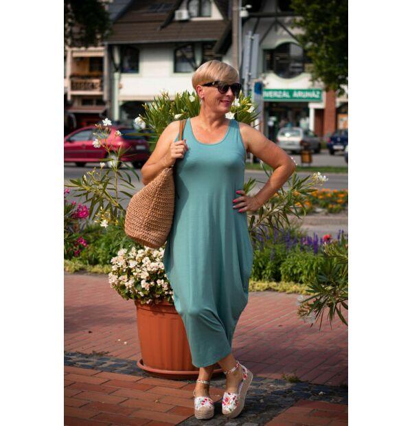 Nórina zöld, rugalmas pamut maxi ruha