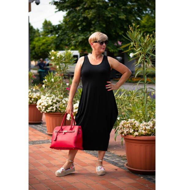 Nórina fekete, rugalmas pamut maxi ruha