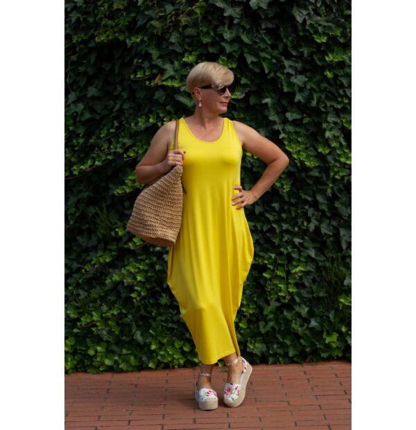 Nórina sárga, rugalmas pamut maxi ruha