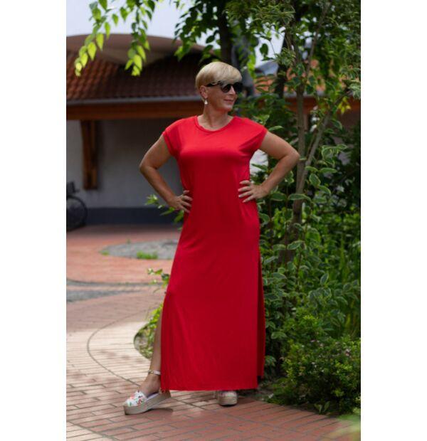 Tamarella piros, egyenesvonalú pamut maxi ruha