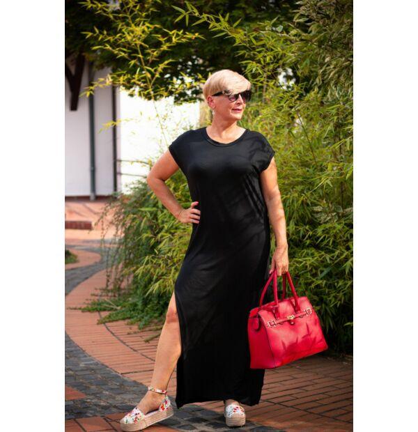 Tamarella fekete, egyenesvonalú pamut maxi ruha