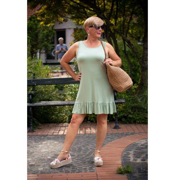 Tara zöldszínű puha, rugalmas pamut, fodros ruha