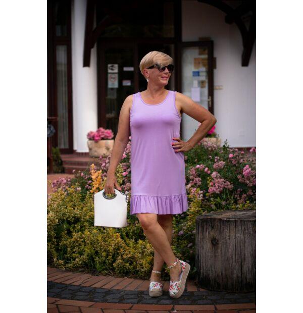 Tara lilaszínű puha, rugalmas pamut, fodros ruha