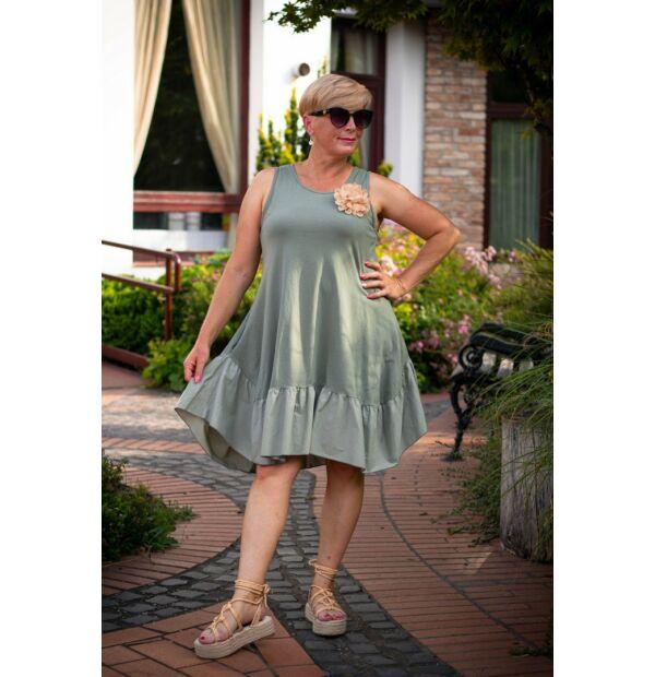 Palóma zöldszínű A vonalú pamut fodros ruha