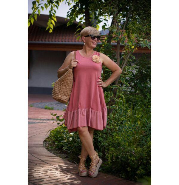 Palóma lazacszínű A vonalú pamut fodros ruha