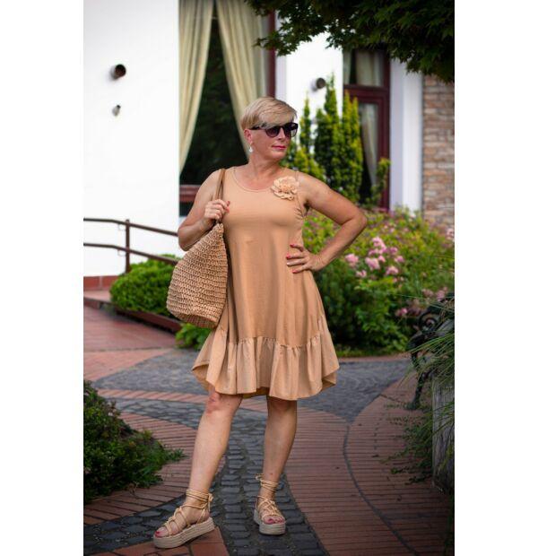 Palóma karamellszínű A vonalú pamut fodros ruha