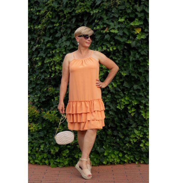 Avery narancsszínű, pántos, fodros ruha