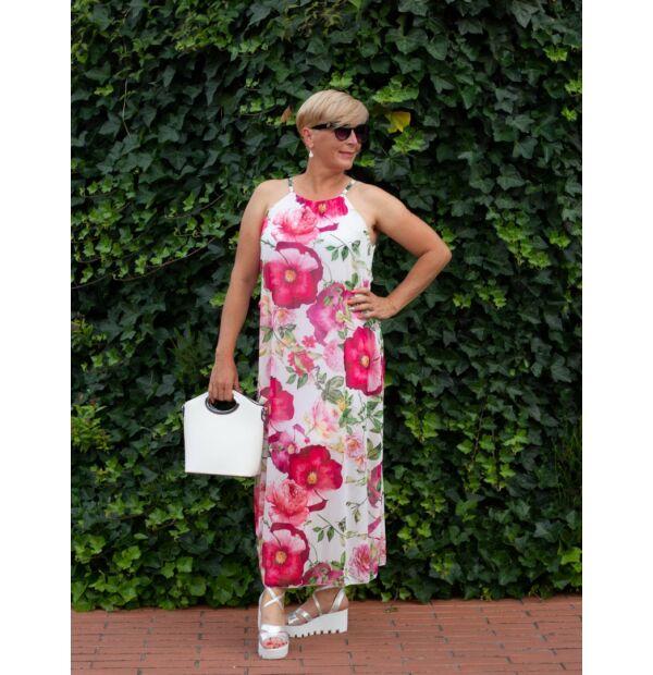 Grace fehér alapon színes virágos muszlin ruha