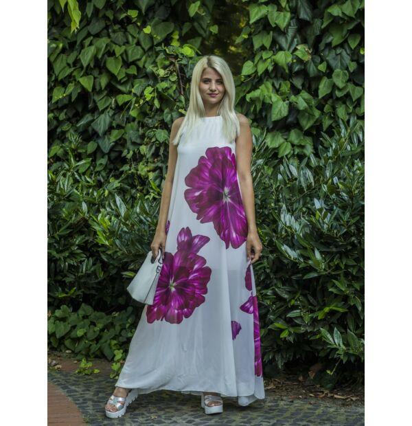 Aliyssa fehér alapon virágos muszlin maxi ruha