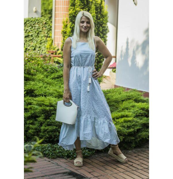 Harper menta-fehér hosszába csíkos maxi ruha