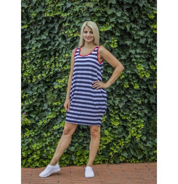 Kék-fehér csíkos tunika-ruha