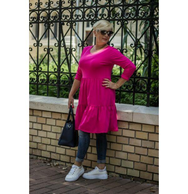 Liviána pink fodros puha pamut tunika-ruha
