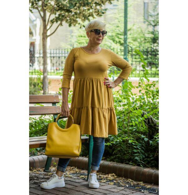 Liviána mustárszínű fodros puha pamut tunika-ruha