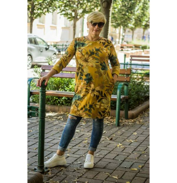 Darling mustár alapon virágos csípőzsebes tunika 3/4-es ujjal