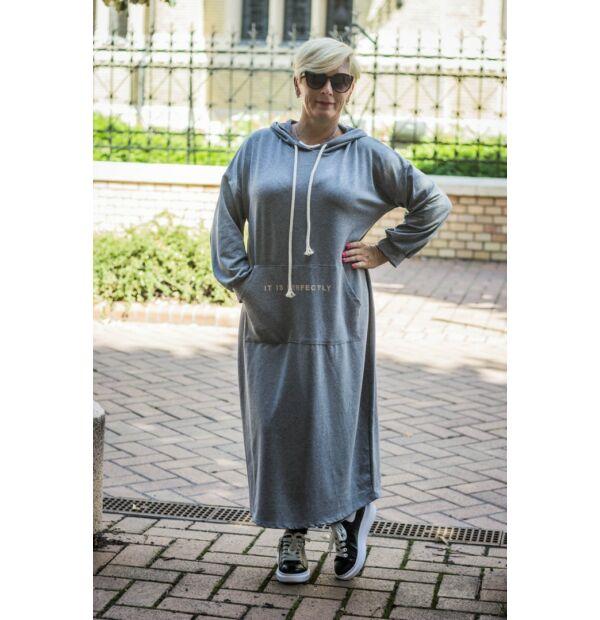 Eleonóra szürkeszínű kapucnis, kenguru zsebes pamut maxi tunika-ruha