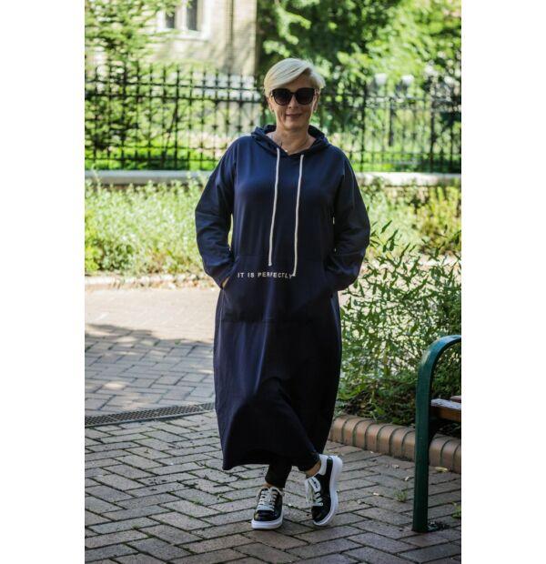 Eleonóra sötétkék kapucnis, kenguru zsebes pamut maxi tunika-ruha