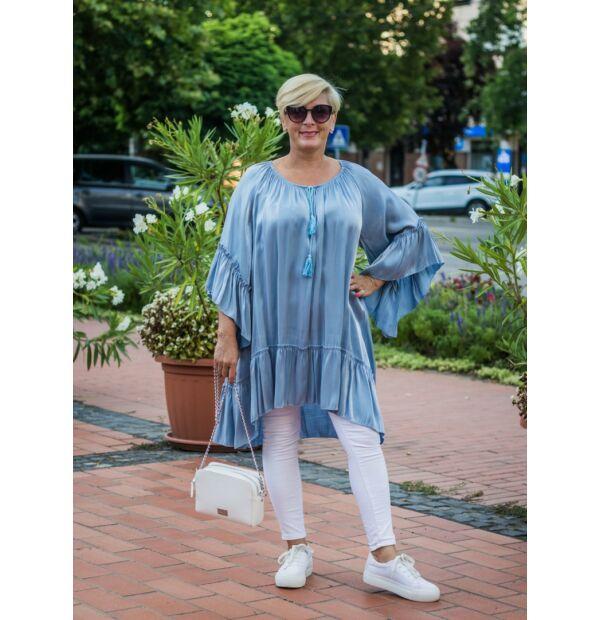 Amanda kékszínű, ujján, alján fodros, A vonalú tunika-ruha