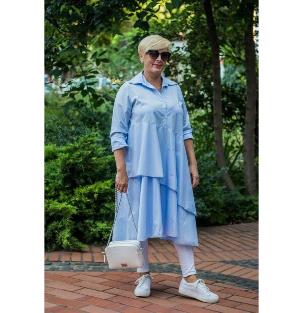Florensza kékszínű, elöl gombos, fodros hosszú pamut-vászon ing