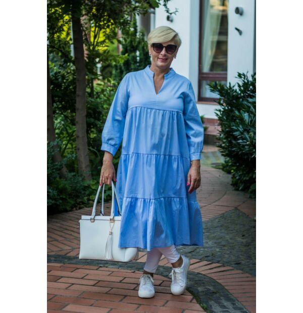 Tina kékszínű fodros pamut vászon tunika-ruha