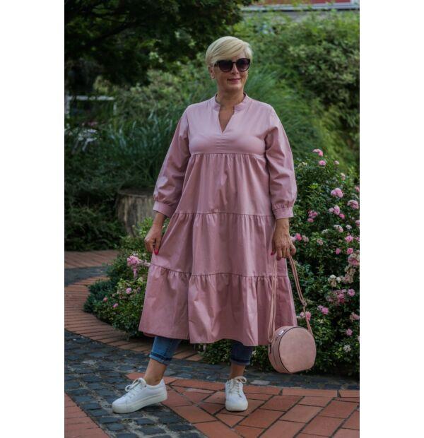 Tina púderszínű fodros pamut vászon tunika-ruha
