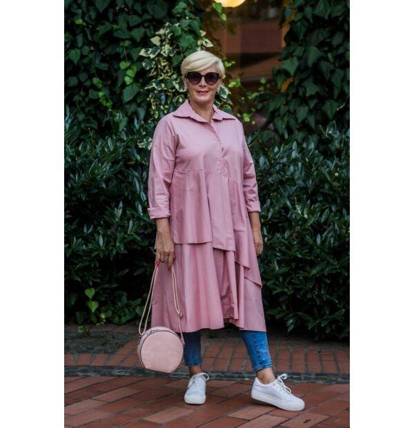 Florensza púderszínű, elöl gombos, fodros hosszú pamut-vászon ing