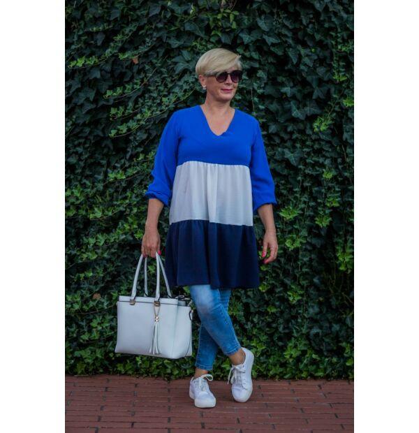 Eliza kék-fehér fodros tunika-ruha
