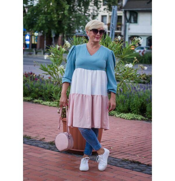 Eliza zöld-fehér-púder fodros tunika-ruha