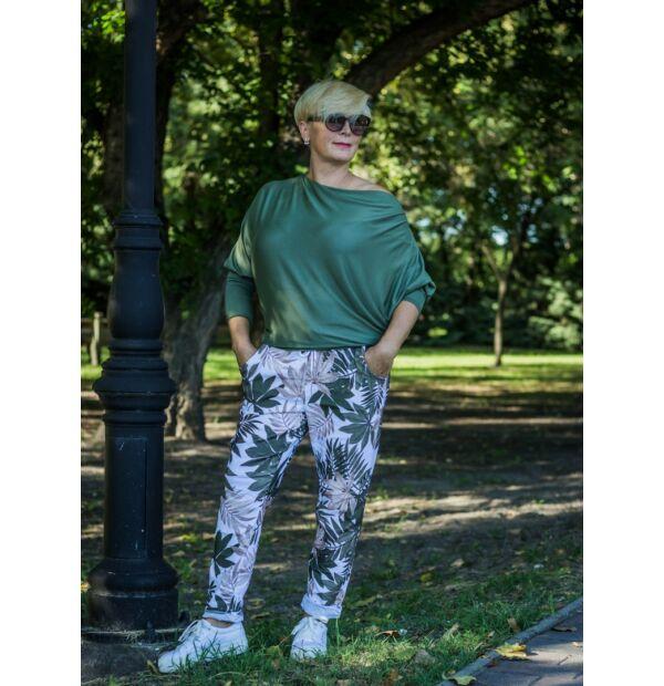 Zöld levélmintás rugalmas pamut-vászon nadrág