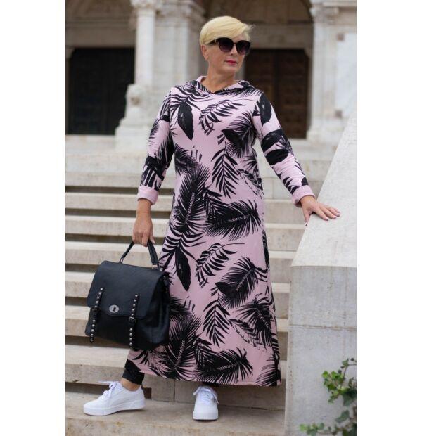 Belinda púder alapon fekete egzotikus levélmintás pamut maxi tunika-ruha