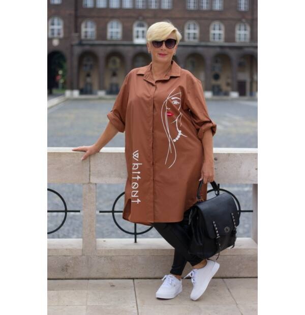 Nilla rozsdaszínű pamut-vászon ing